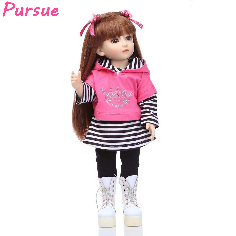 Pursue 18 inch Pretty Cute American Girl Doll Princess Doll 18 Inch/45 cm Soft PVC Plastic Baby Doll Plaything Toys for Children 18 inch soft american girl dolls princess doll 45 cm lovely lifelike baby toys for children present