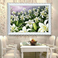 5D DIY Diamond Painting Cross Stitch Lily Flowers Diamond Embroidery Restaurant Adornment Crystal Round Diamond Mosaic