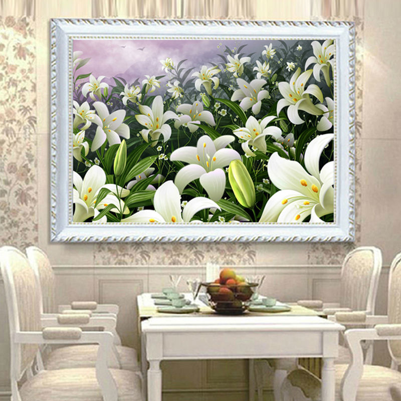 5D DIY Diamond Painting Cross Stitch Lily Flowers Diamond Embroidery Restaurant Adornment Crystal Round Diamond Mosaic Picture