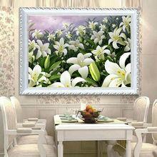 5d diy diamante pintura punto de cruz flores de lirio restaurante adorno bordado de diamantes diamante redondo de cristal de mosaico de imagen