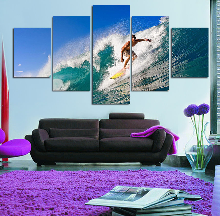 Cool Living Room Art Part - 49: Aliexpress.com : Buy 5 Panels Painting Canvas Wall Art Cuadros Cool Surfing  Wall Picture For Living Room Canvas Print Abstract Painting From Reliable  Art ...