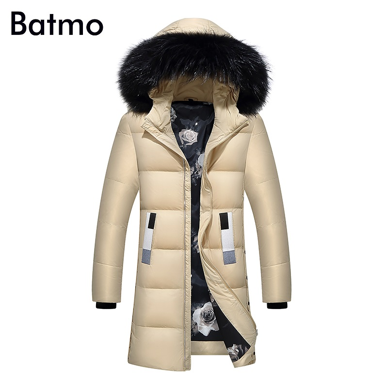 Batmo 2017 new arrival high quality white duck down warm hooded long jacket men,winter coat men,Windproof,7058