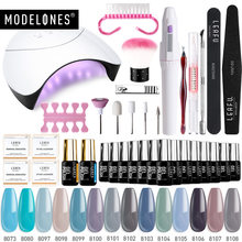 Modelones 36W Led Lamp Nail Art Gel Polish Set Smart Sensor UV Lamp Any 4/6/8/10/14 Colors Semi Permanent Gel Electric Drill Kit(China)