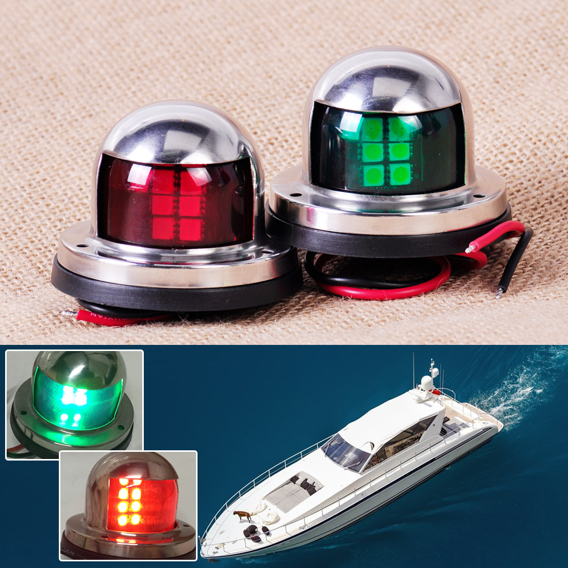 1 Pair Stainless Steel 12V LED Bow Navigation Light Red Green Sailing Signal Light for Marine Boat Yacht