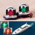 1 Par de Aço Inoxidável 12 V CONDUZIU a Luz de Navegação Curva Vermelha Vela Verde Sinal de Luz para o Barco Iate Marinho
