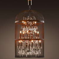 Vintage Rustic Birdcage Crystal Chandelier Lighting Black Bird Cage Pendant Hanging Light Chandeliers Lamp for Dining Room