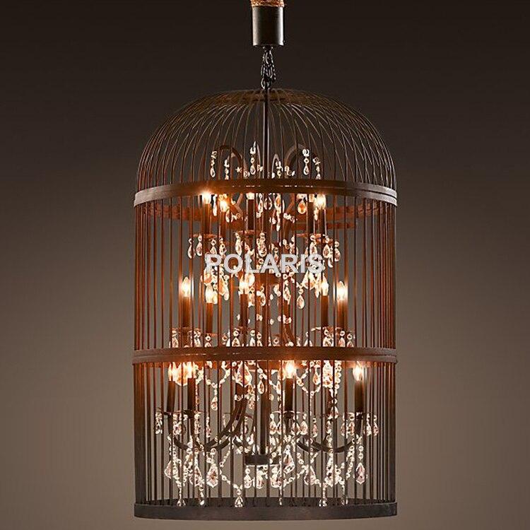 Vintage Rustico Birdcage Lampadario di Cristallo di Illuminazione Nero Bird Cage Ciondolo Appeso Luce Lampadari Lampada per Sala da pranzo