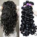 7A Peruana Peruano Virgen Pelo Suelto Wave Hair Style 3 unid suelto Y Rizado Paquetes Armadura Del Pelo Humano de la Virgen Rosa Reina Cabello productos