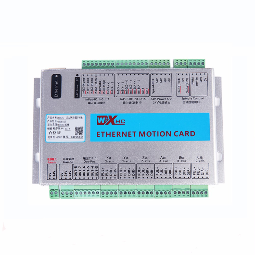 6 Axis Mach3 Ethernet Breakout Board New XHC Ethernet Motion Control Card  5 generation 2000KHZ cnc milling machine ethernet mach3 interface board 6 axis control