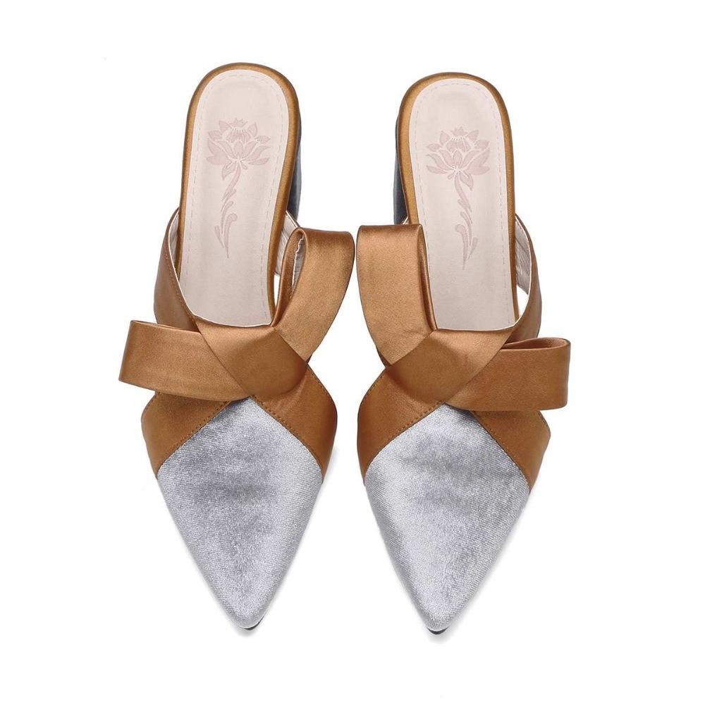 Pointu Courses Pompes Talons Slingback Doux Bout Femmes Noir L31 argent Bowtie Glissement Mode Pot La Chaussures Hauts Streetwear Krazing Sur Mules x0wqT1Sn