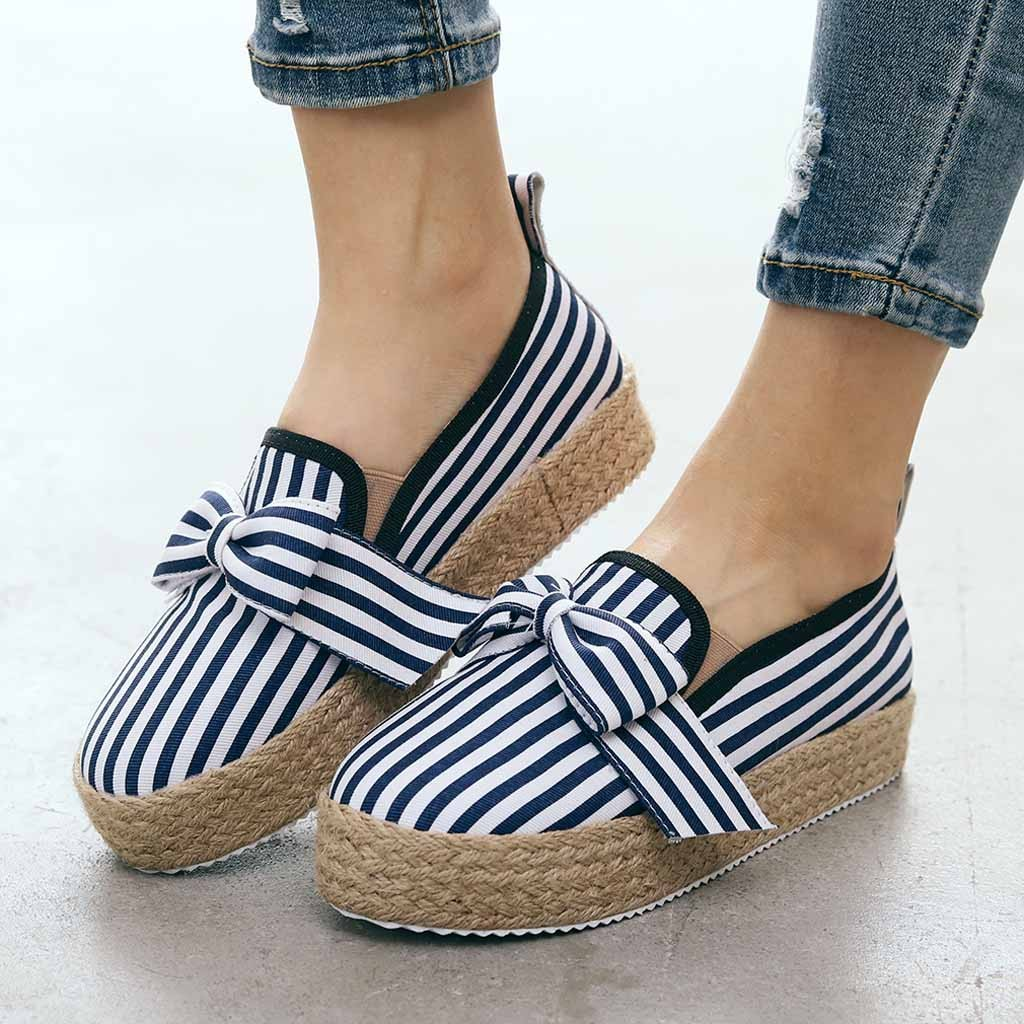 Women Striped Platform Flats Shoes Thick Bottom Platform Shoes Casual Students Roman Large Size Single Shoes Zapatillas Mujer