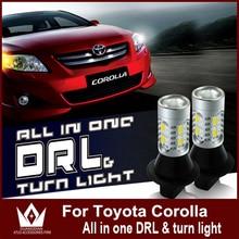 Señor de la noche Para Corolla 2007-2014 7440 LED DRL Daytime Luz Corriente y Señales de Giro Delanteras todo en uno