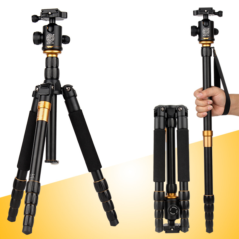 QZSD Q666 Pro QZSD-02 Professional Photographic Portable Tripod & Monopod Set For Digital SLR Camera Only 35cm Load Bearing 15Kg