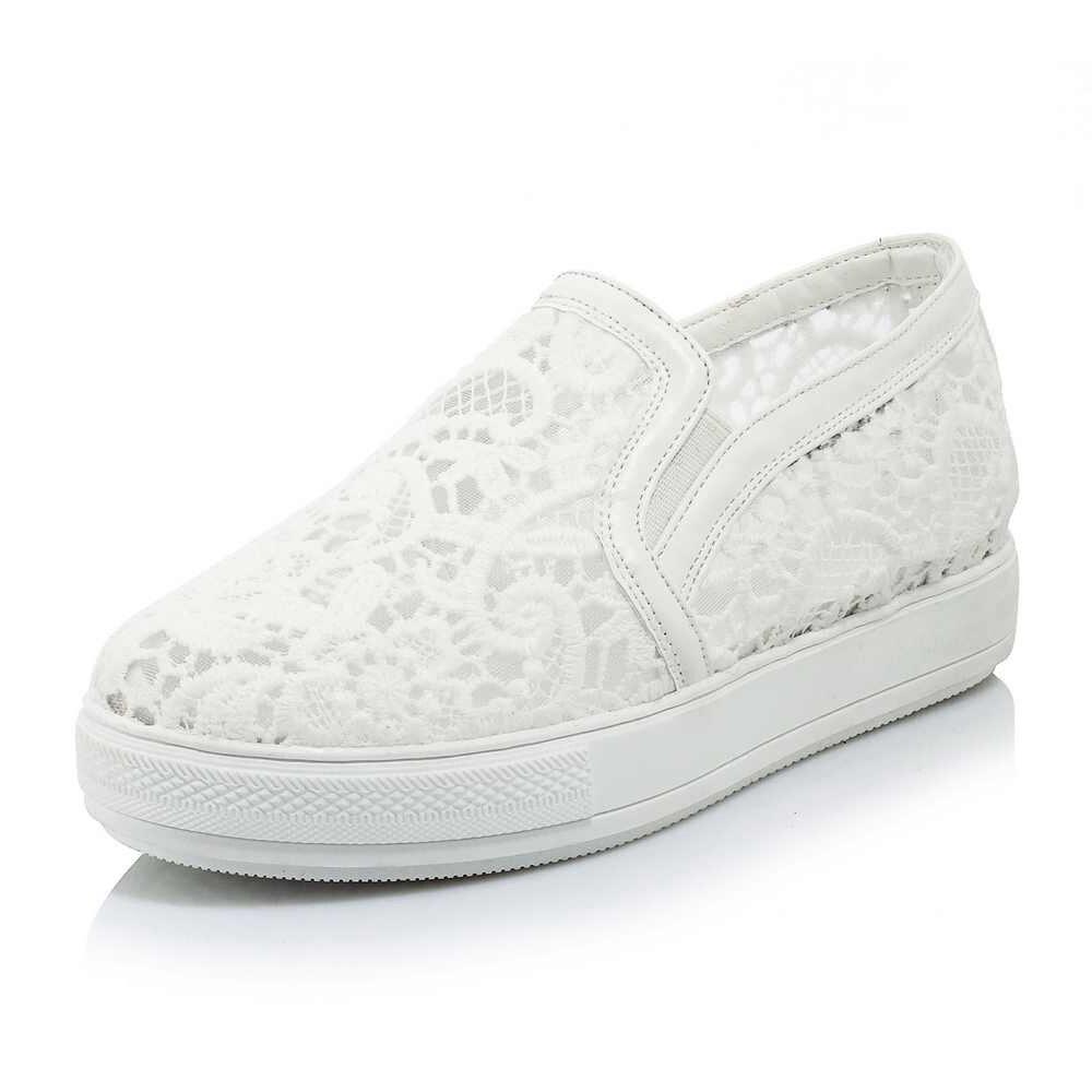 Mocassins Glissement blanc Chaussures Lenkisen Rond Talon Causal rose Main Femmes Noir Sur Bout Mesh Med 2018 De Respirant Vulcanisé Mode Piste L03 q11ctr0