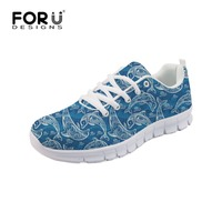 FORUDESIGNS Beautiful Animal Dolphin Pattern Mesh Walking Shoes Lace up Flats for Women Spring Summer Breathable Sneakers Female