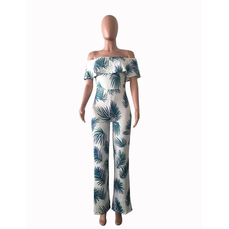 Women Summer Jumpsuit Fashion Short Sleeve Off One Shoulder Floral Print Playsuit Long Pants Casual Rompers Jumpsuit F#L20 (16)