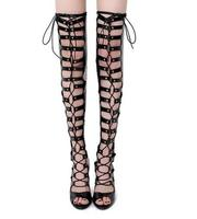 Fashion Woman Thigh High Lace Up High Heel Sandal Boots Hollow Rome Style Gladiator Lace Up
