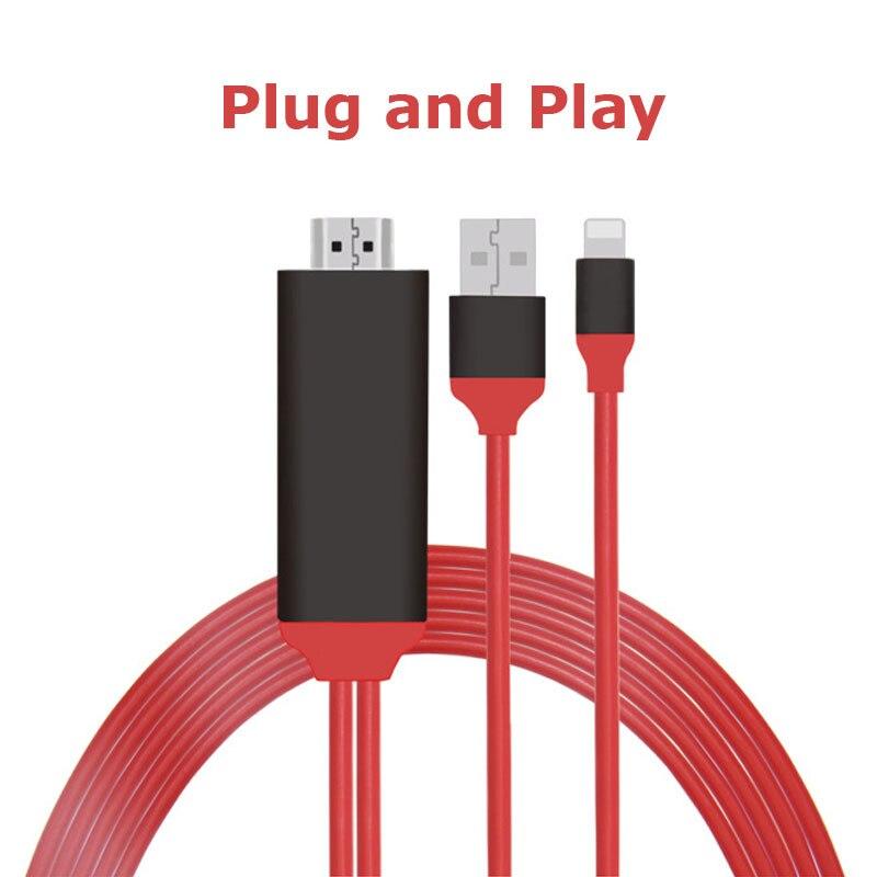 Plug & Play Kabel 2 mt USB 8 Pin Für Blitz IOS 11 zu HDMI HDTV AV Adapter für iPhone X 8 7 7 Plus 6 6 Plus Lade Adapter Kabel