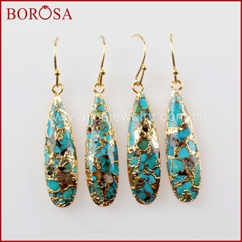 BOROSA 5Pairs Teardrop Gold Color Natural Copper Turquoises Earrings Natural Blue Stone Drop Earrings Jewelry for Women G1547-E фото