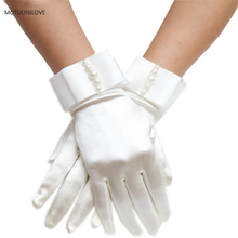 Matte Satin Wrist Length Wedding Bridal Gloves Full Fingers Women For Cosplay Party Prom Performance Fast Shipping Cheap