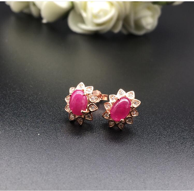 все цены на Real ruby stud earring Free shipping Natural real ruby 925 sterling silver 4*6mm онлайн