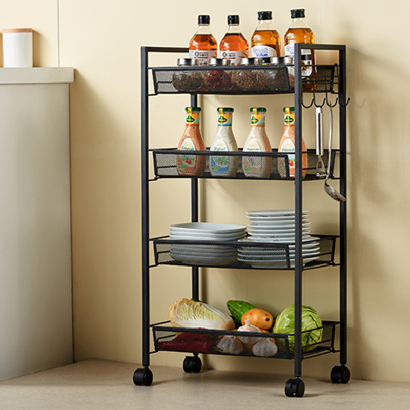 3 Layer Kitchen Organizer Rack Holder With Wheels Movable Iron Kitchen Storage Accessories Vegetable Fruit Baskets Multifunction3 Layer Kitchen Organizer Rack Holder With Wheels Movable Iron Kitchen Storage Accessories Vegetable Fruit Baskets Multifunction
