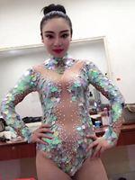 Новинки для женщин Русалка большой пайетки сексуальное боди леггинсы кристаллы Детский костюм для вечеринок сцены Стразы Большой растягив