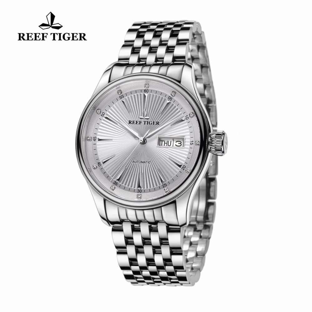 2020 Reef Tijger/Rt Luxe Jurk Horloge Voor Mannen Roestvrij Stalen Armband Blauwe Wijzerplaat Automatische Horloges RGA8232