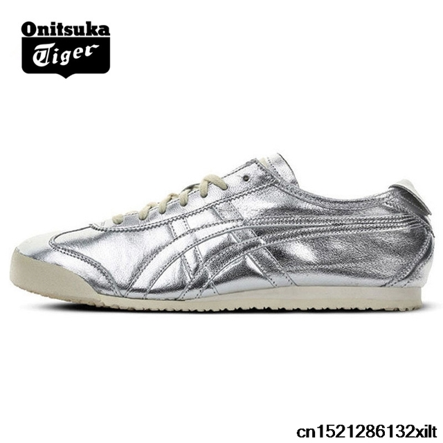 sports shoes 42214 c08cc US $69.15 |ONITSUKA TIGER MEXICO 66 Men Women Shoes Silver Leather Rubber  Hard Wearing Travel Street Low Sneakers Badminton Shoes-in Badminton Shoes  ...