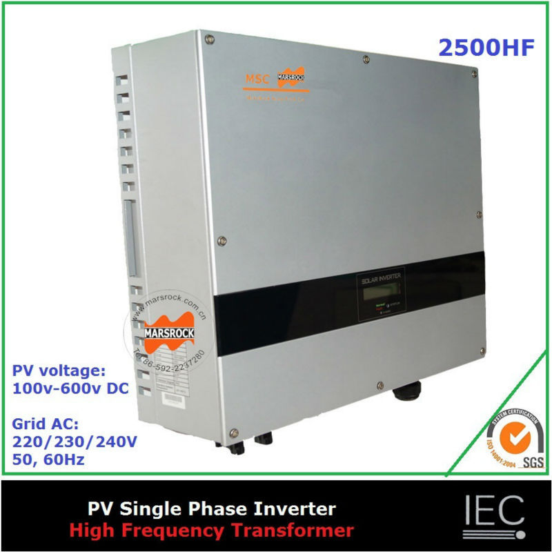 2500W on grid high frequency solar inverter single phase transformer certificates CE IEC CDE G83 AS DK