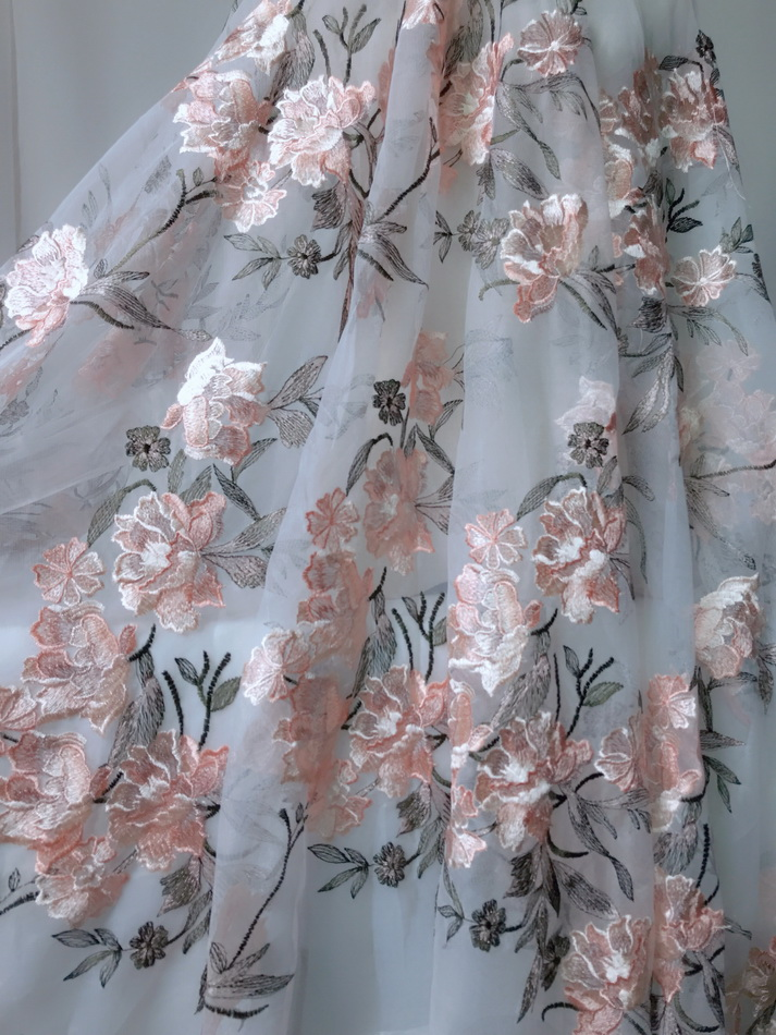 African Tulle lace fabric High Quality 2019 3D Blossom Embroidered Wedding Dress Lace Fabric DIY Handmade Craft 3 Yards