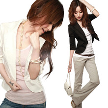 Free shipping Details about New Ladies Celeb Inspired Tailored Fitted Ponte Cropped Blazer Ladies Jacket cheap WOMEN Blazers Single Breasted Short Three Quarter Polyester spandex COTTON Notched Solid Casual Button Broadcloth Natural Color