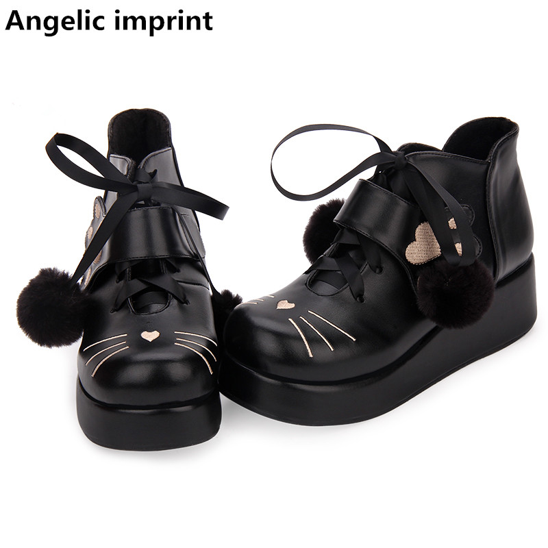 Angelic imprint mori girl Women sweet ankle boots lady lolita Boots woman mid heels pumps wedges