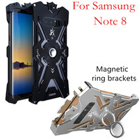 Zimon luxury metal aluminum phone case for samsung note 8 Shockproof Armor magnetic ring brackets lanyard protective cover