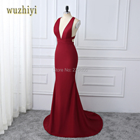Wuzhiyi Off The Shoulder Wine Red Prom Dress Deep V Neck Mermaid Pleated Prom Gowns Sexy