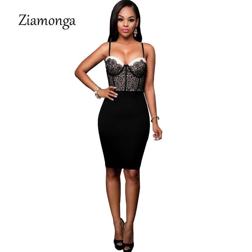6707687fcd0b9 ... Ziamonga 2018 Sexy Padded Bra Bodycon Midi Dress V Neck Sleeveless  Straps Floral Lace Dress Black ...