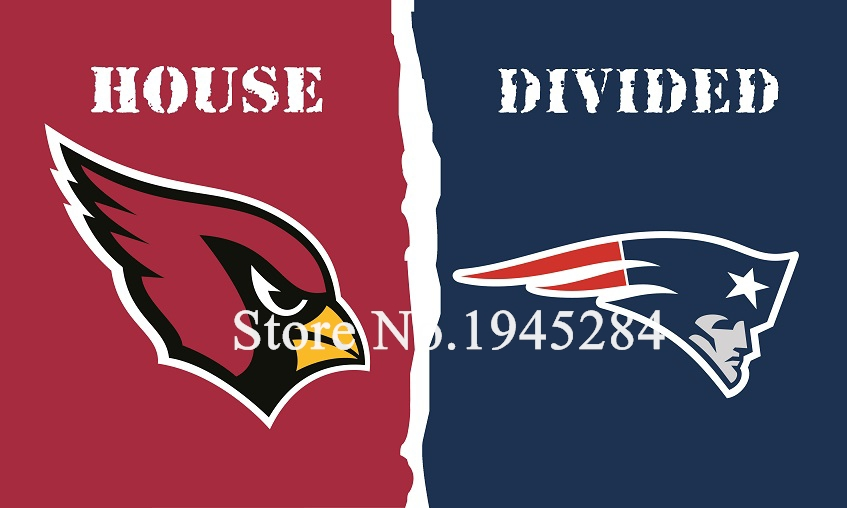 NFL Arizona Cardinals New England Patriots House Divided Flag 3x5ft 150x90cm Polyester Flag Banner, free shipping