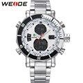 2016 WEIDE homens esportes relógios de quartzo relógio Digital Relogio Masculino moda de aço inoxidável Display LED à prova d ' água relógios de pulso