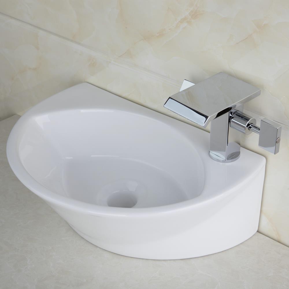 Shivers Bathroom White Ceramic Basin Lavatory Sink Set Countertop  TW32048365B/117 +Double Handle Chrome