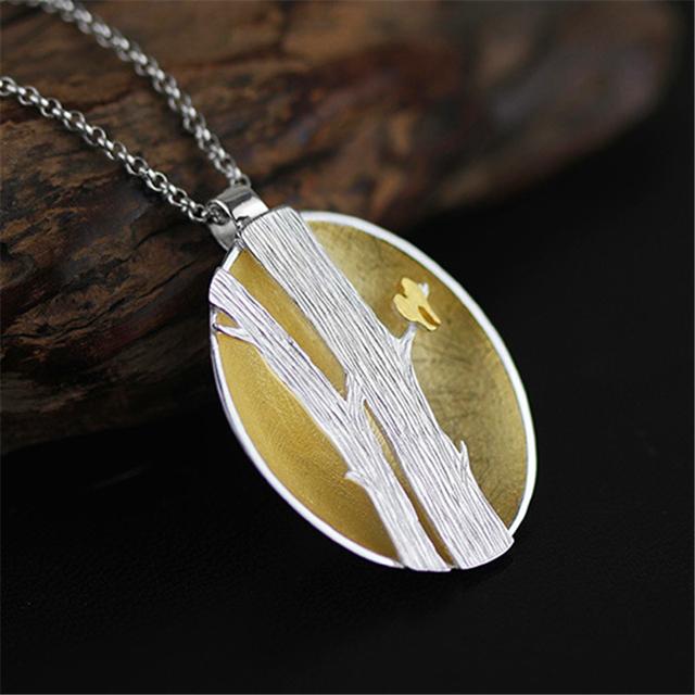 La naturaleza se sienten pájaros en las ramas para el collar 2 tamaño hecho a mano real 925 joyería de plata esterlina accesorios étnicos special