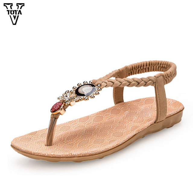 52edf378b7f5 VTOTA Summer Bohemian Women Sandals Gladiator Shoes Woman Bead Flip Flop  Metal Decoration Casual Slip On Sandalia Feminina QYXC