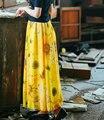 2017 Лето Желтый Цветок Печати Шифон Длинная Юбка Три Слоя Высокая Талия Макси Юбка Женщины Boho Vintage Юбки Faldas Saia