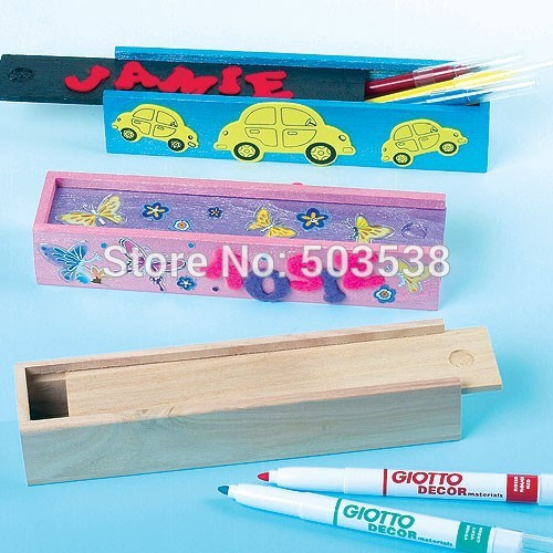 ... China Unfinished Wooden Pencil Box with Sliding Lid ...