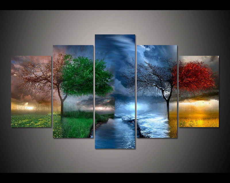 Free shipping 5 panel large HD printed painting Fantasy ...