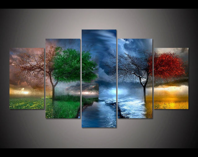 Wonderful Free Shipping 5 Panel Large HD Printed Painting Fantasy Nature Canvas Print  Home Decor Wall Art