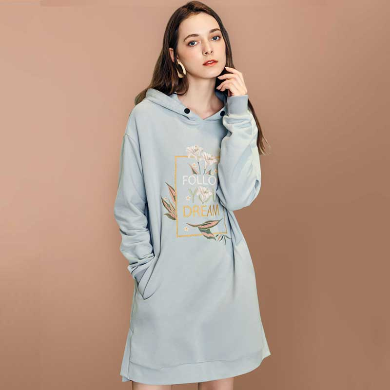 ARTKA 2018 Autumn Winter Women Loose All match Hooded Pullovers Letters Embroidery Long Sleeve Casual Sweathershirt