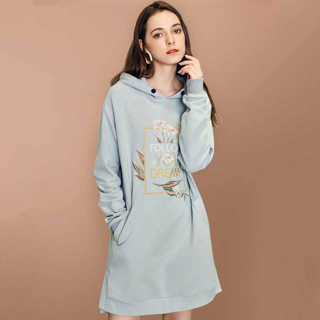 ARTKA 2018 Autumn Winter Women Loose All-match Hooded Pullovers Letters Embroidery Long Sleeve Casual Sweathershirt VA15180Q