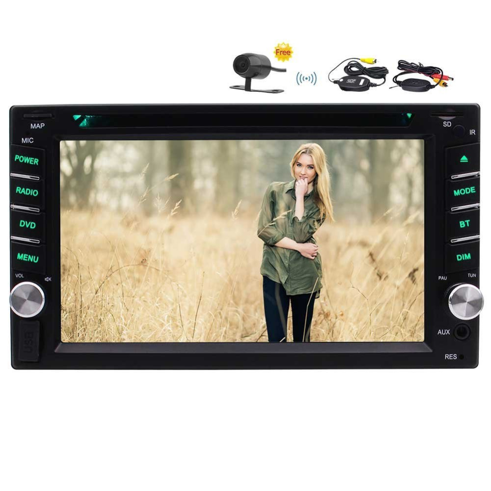 With Wireless Camera! 2 Din Car DVD CD Video Player Bluetooth FM/AM RDS Radio Car Stereo Support SWC AUX Subwoofer 1080P Video цена