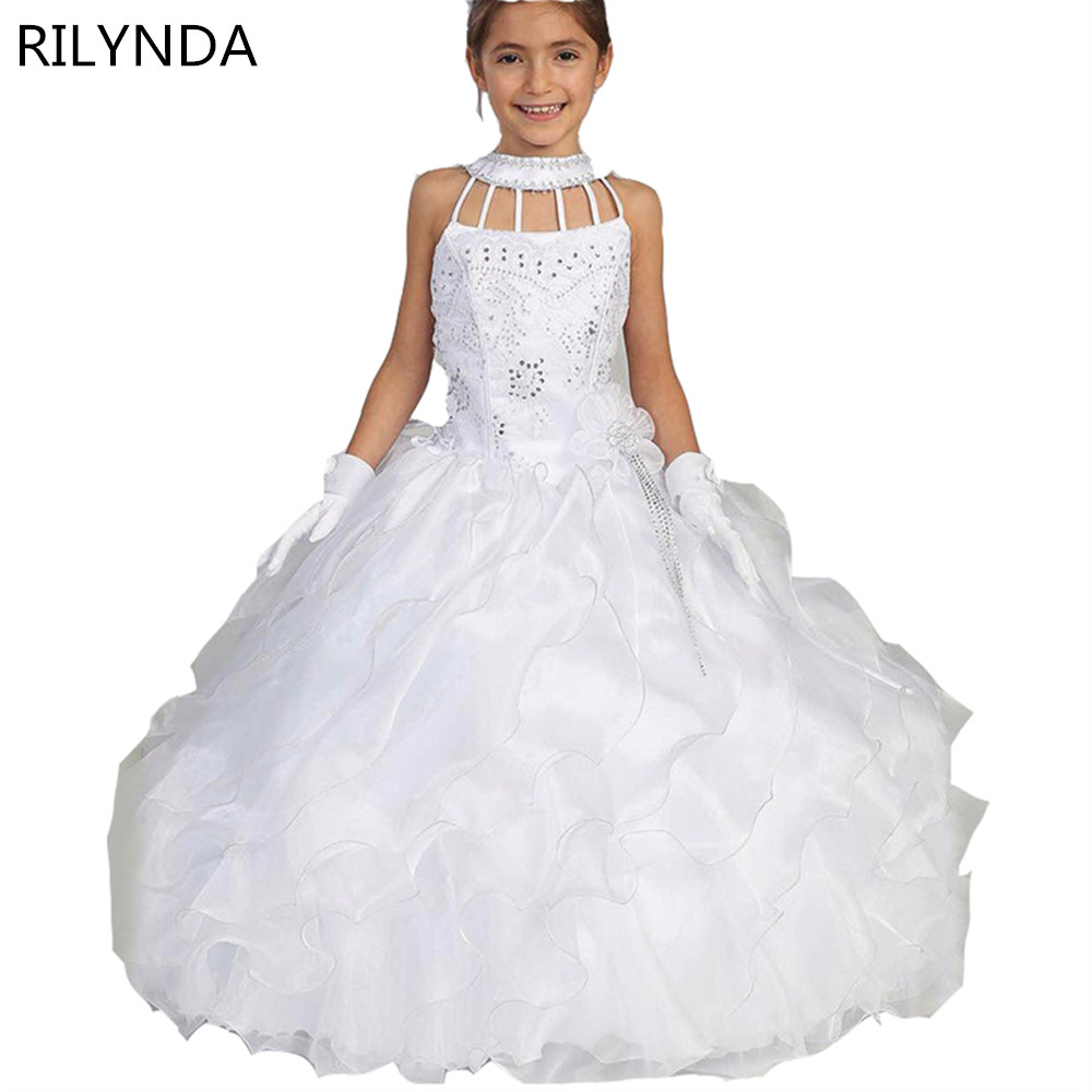 Flower Girl Dresses 2017 Tiered White Ball Gown Beaded Pleat Cute Dresses Pageant Costumes For Wedding First Communion Dresses