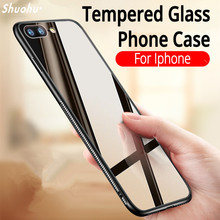 Shuohu Luxury Tempered Glass Back+TPU Cases for Iphone X 8 Plus Case Cover Silicone Coque for Iphone 7 6 6S Plus Case Original